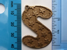Patterned Letter Steel Keychain 3d printed S with stars at 10 degrees in stainless steel