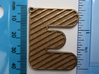 Patterned Letter Steel Keychain 3d printed E with stripes at 150 degrees in stainless steel
