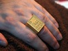 Gold Periodic Table Statement Ring Size 10 3d printed This Statement Peice On The Finger, Printed In Polished Gold Steel.