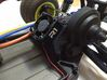 B5M / T5M / SC5M Chassis Brace With Fan Mounting,  3d printed Side view of part on the car, with R1 fan (15 mm thick)