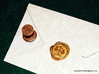 Scales of Justice Seal 3d printed Scales of Justice Wax Seal in Stainless steel with impression in Gold sealing wax