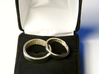 """Fingerprint Ring - Hers 3d printed The matching pair of rings: the 3mm """"hers"""" and the 5mm """"his"""" in 14k White Gold."""