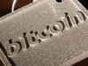 Keychain with Bitcoin Logo 3d printed Back side, Polished Metallic Plastic