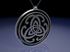 Doublesided Celtic Knot Pendant ~ 44mm(1 3/4 inch) 3d printed Front view raytraced render simulates black enamel to enhance the silver embossed design