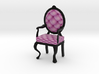 1:48 Quarter Scale PinkBlack Louis XVI Chair 3d printed