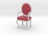 1:12 Scale Red/Pink Plaid/White Louis XVI Chair 3d printed