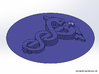 Caduceus Wax Seal (Doctor's Staff) 3d printed Rendering of the wax impression viewed from an angle