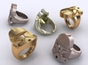 Clone Trooper ring 3d printed Stainless Steel, Gold Plated matte & Premium Silver renders